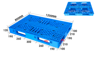 1200*800mm Grid Deck Stackable Six Runner Plastic Pallet